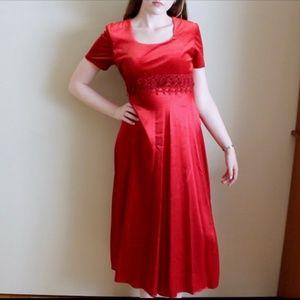Vintage Velvet & Satin Red Dress
